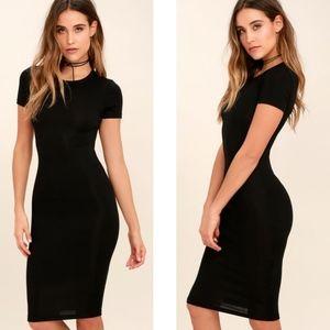 Lulu's | Like Minded Black Bodycon Midi Dress